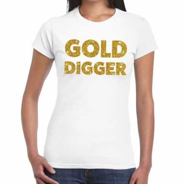 Gold digger glitter tekst t shirt wit dames