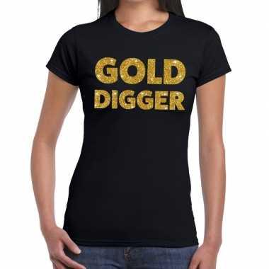 Gold digger glitter tekst t shirt zwart dames