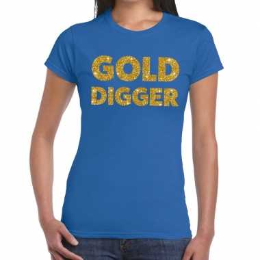 Gold digger gouden glitter tekst t shirt blauw dames