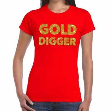 Gold digger tekst t shirt rood dames