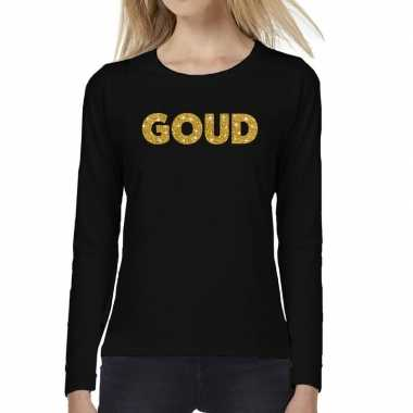 Goud glitter t shirt long sleeve zwart dames