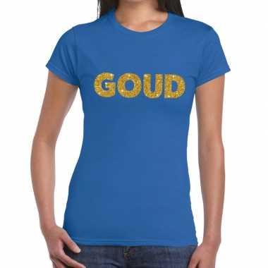 Goud glitter tekst t shirt blauw dames