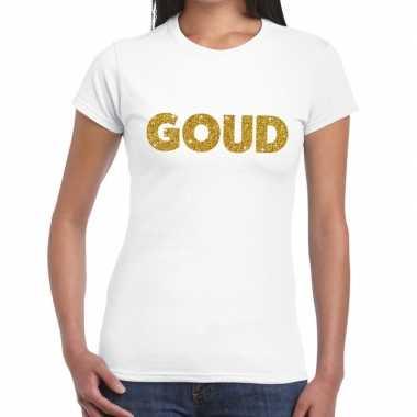 Goud glitter tekst t shirt wit dames