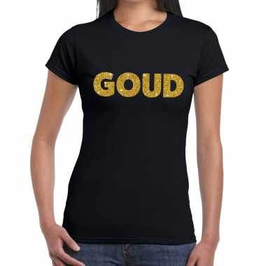 Goud glitter tekst t shirt zwart dames