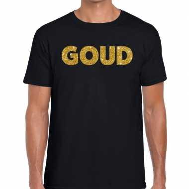 Goud glitter tekst t shirt zwart heren