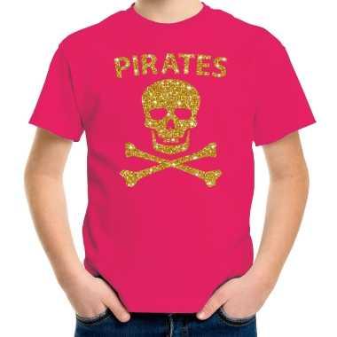 Gouden glitter carnavalskleding piraten shirt roze kids