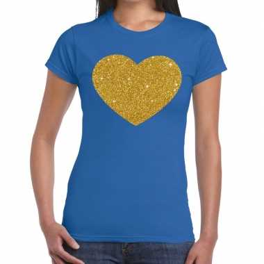 Gouden glitter hart t shirt blauw dames