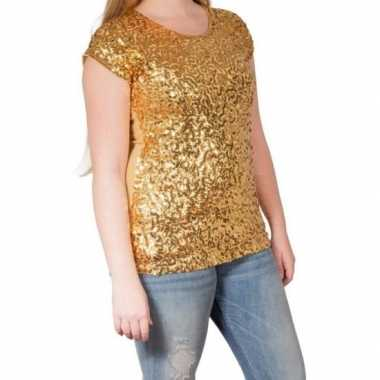 Gouden glitter pailletten disco shirt dames l/xl