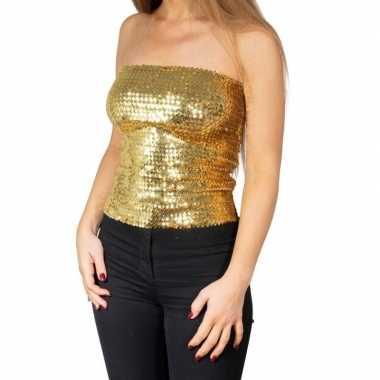 Gouden glitter pailletten disco strapless topje/ shirt dames