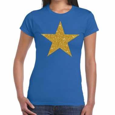 Gouden glitter ster t shirt blauw dames