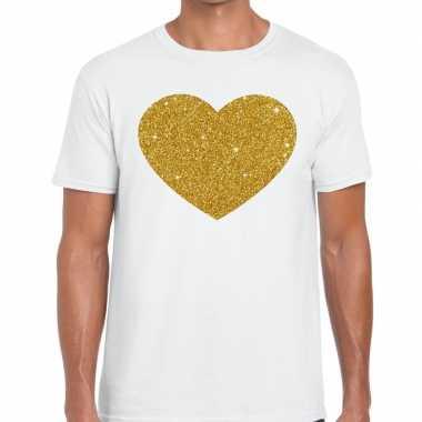 Gouden hart glitter fun t t shirt wit heren