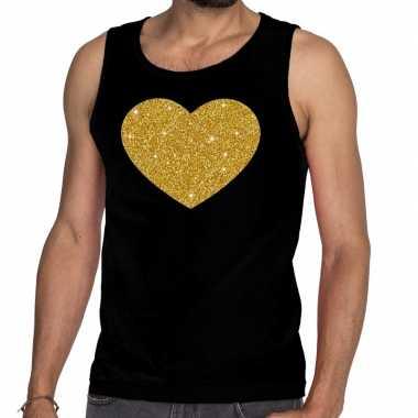 Gouden hart glitter tanktop / mouwloos shirt zwart heren