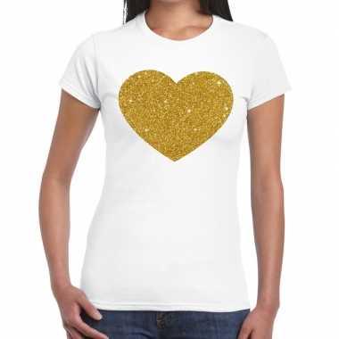Gouden hart glitter tekst t shirt wit dames