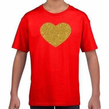 Gouden hart gouden glitter t shirt rood kids