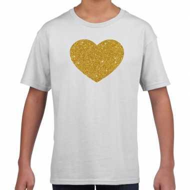 Gouden hart gouden glitter t shirt wit kids