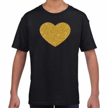 Gouden hart gouden glitter t shirt zwart kids