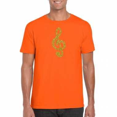 Gouden muziek noot g sleutel / muziek feest t shirt / kleding oranje heren