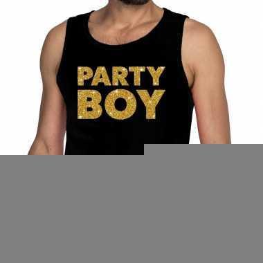 Gouden party boy glitter tanktop / mouwloos shirt zwart heren
