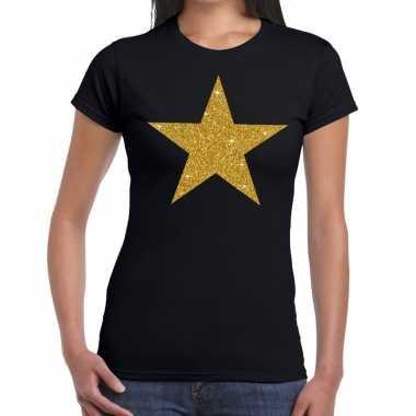 Gouden ster glitter fun t shirt zwart dames