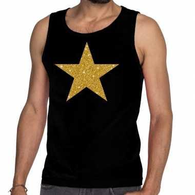 Gouden ster glitter tanktop / mouwloos shirt zwart heren