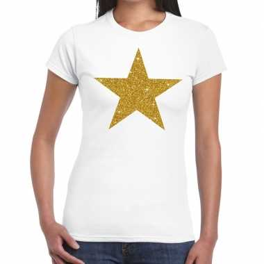 Gouden ster glitter tekst t shirt wit dames