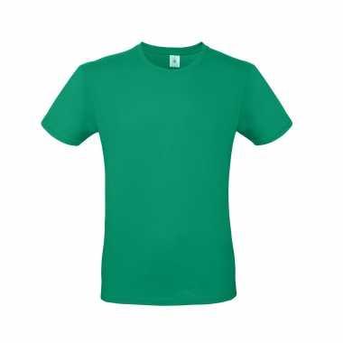 Groen basic t shirt ronde hals heren katoen