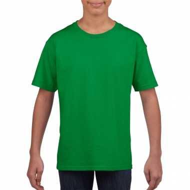 Groen basic t shirt ronde hals kinderen / unisex katoen
