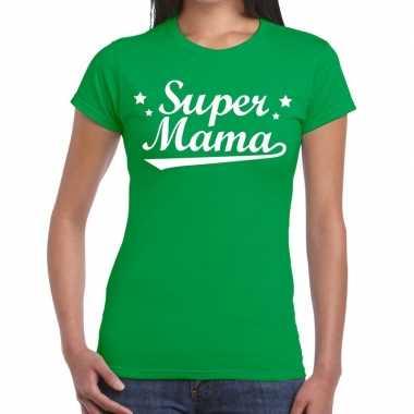 Groen cadeaushirt moeders super mama bedrukking