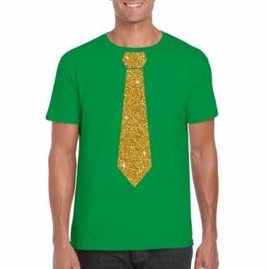 Groen fun t shirt stropdas glitter goud heren