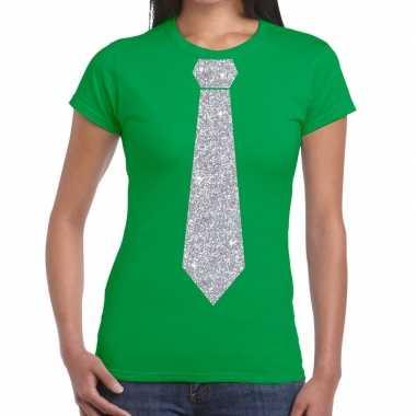 Groen fun t shirt stropdas glitter zilver dames