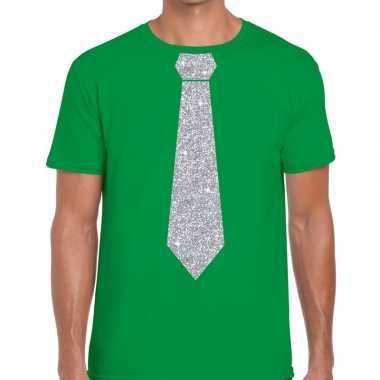 Groen fun t shirt stropdas glitter zilver heren