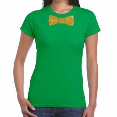 Groen fun t shirt vlinderdas glitter goud dames