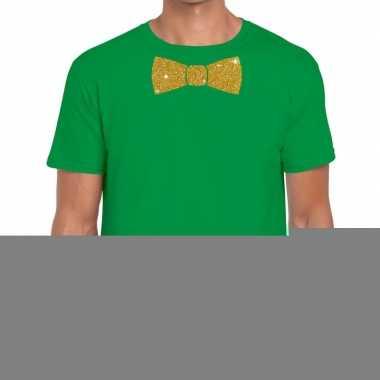 Groen fun t shirt vlinderdas glitter goud heren
