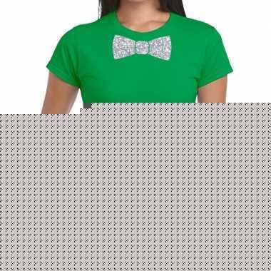 Groen fun t shirt vlinderdas glitter zilver dames