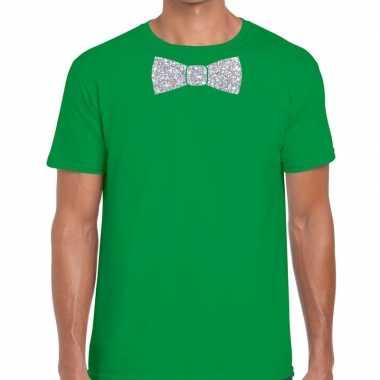 Groen fun t shirt vlinderdas glitter zilver heren