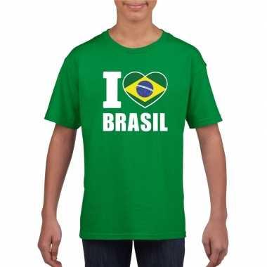 Groen i love brazilie fan shirt kinderen