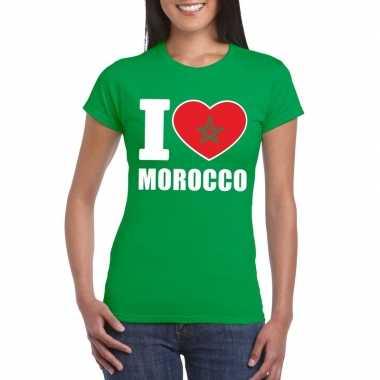 Groen i love marokko fan shirt dames