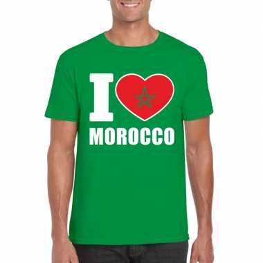 Groen i love marokko fan shirt heren