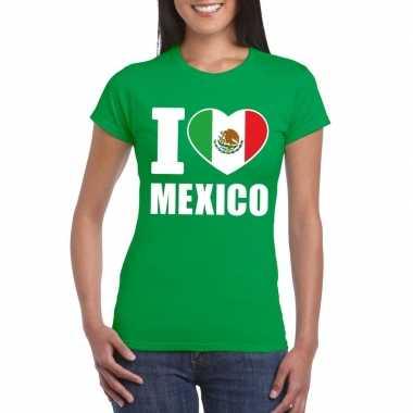 Groen i love mexico fan shirt dames