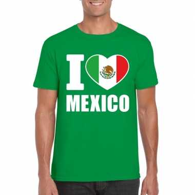 Groen i love mexico fan shirt heren