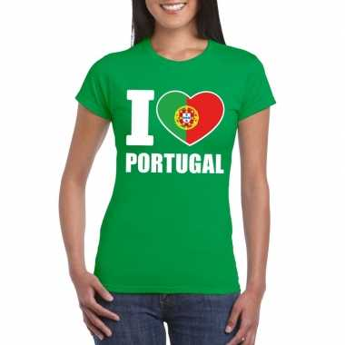 Groen i love portugal fan shirt dames