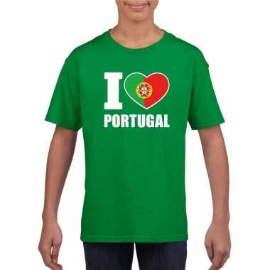 Groen i love portugal fan shirt kinderen