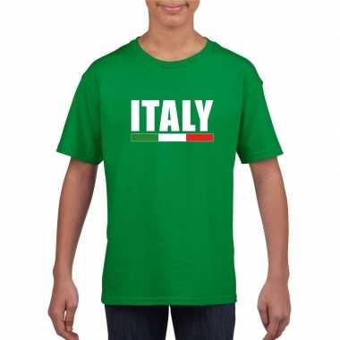 Groen italie supporter t shirt kinderen