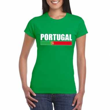 Groen portugal supporter t-shirt dames
