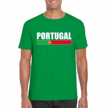 Groen portugal supporter t shirt heren