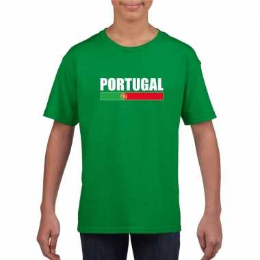 Groen portugal supporter t shirt kinderen