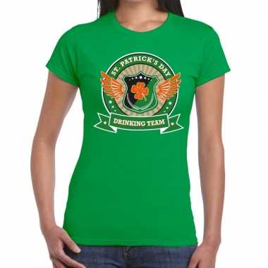 Groen st. patricks day drinking team t shirt dames