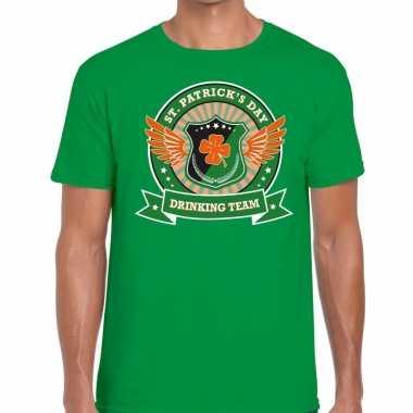 Groen st. patricks day drinking team t shirt heren