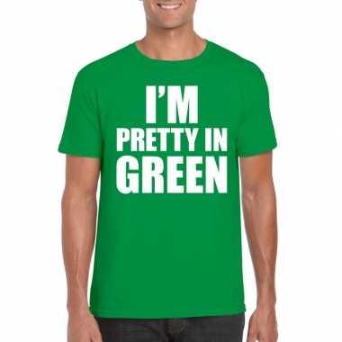 Groen t shirt i am pretty green bedrukking heren