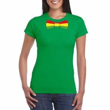 Groen t shirt limburgse vlag strik dames